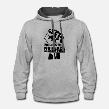 NO JUSTICE NO PEACE NO RACIST POLICE SNN RED AND B - Contrast Hoodie