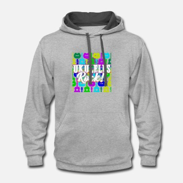 Ukulele AWESOME UKULELES ROCK SHIRT - Contrast Hoodie