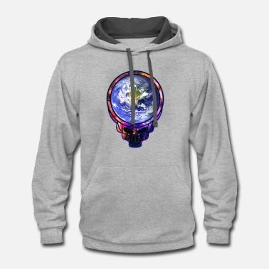 Grateful Dead Space & Earth Face Skull - Psychedelic Dead Style - Contrast Hoodie