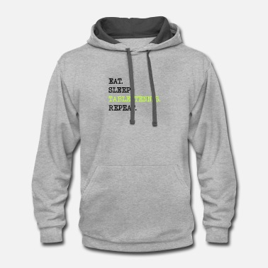 Table Tennis Eat Sleep Table Tennis Repeat Ping Pong Gift Asia - Contrast Hoodie