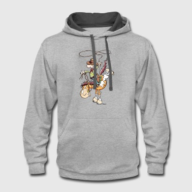 Cowboy with western horse - Contrast Hoodie