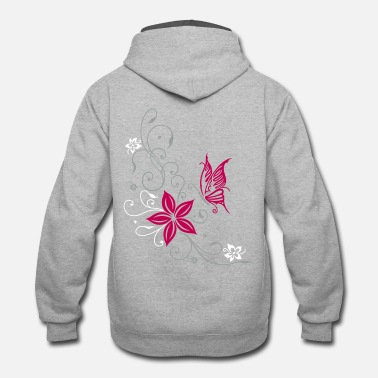 Flowers Flowers with filigree ornament and butterfly - Unisex Two-Tone Hoodie