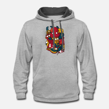 Sea Creatures sea creatures and anchor - Unisex Two-Tone Hoodie