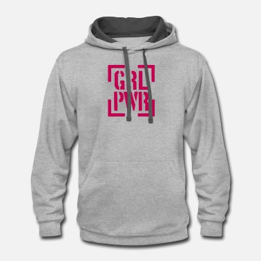 Metal Gir stamp girl power text saying cool female woman gir - Unisex Two-Tone Hoodie