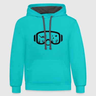 diving mask / scuba, dive, gift, sea, - Contrast Hoodie