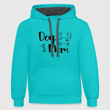 Dog Mom With A Pup - Contrast Hoodie