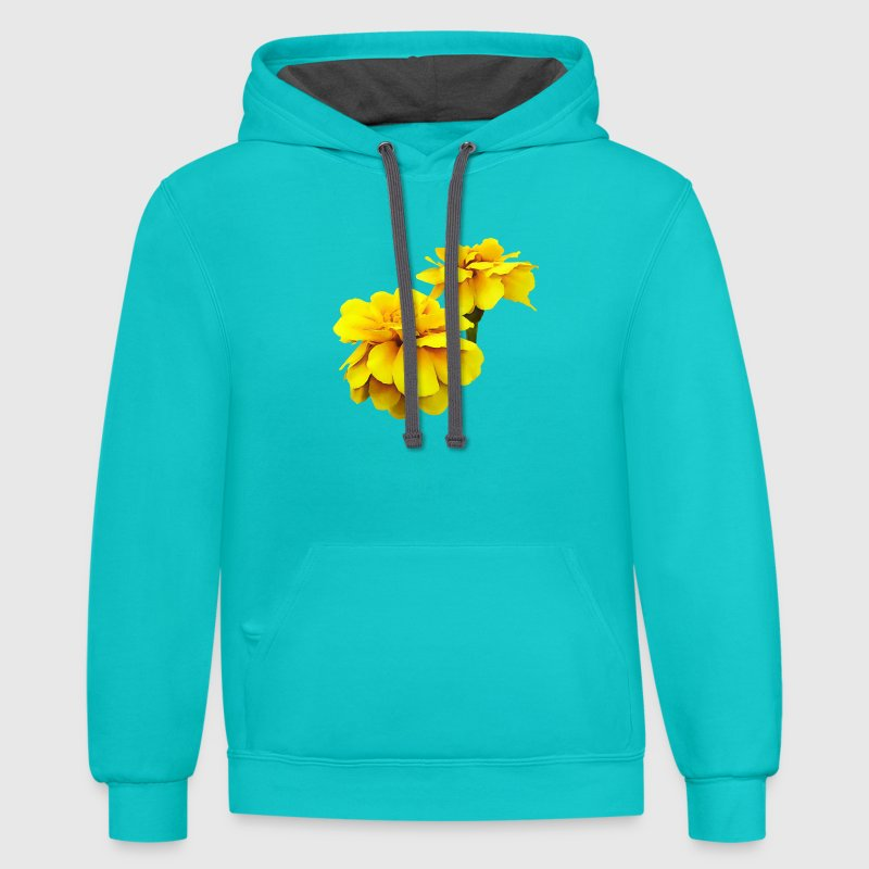 Two Yellow Marigolds - Contrast Hoodie