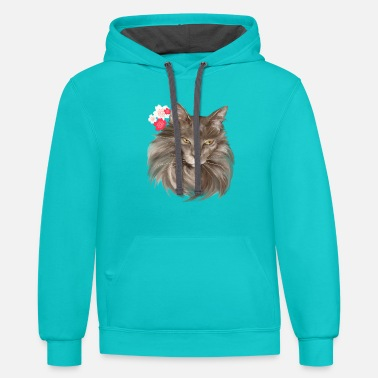 Cherry Blossom My Grey Lady-Cherry Blossoms - Contrast Hoodie