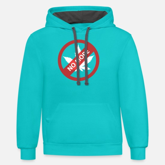Weed Hoodies & Sweatshirts - No more Marijuana, weed - Unisex Two-Tone Hoodie scuba blue/asphalt