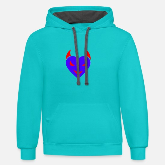 Devil Hoodies & Sweatshirts - devil - Unisex Two-Tone Hoodie scuba blue/asphalt
