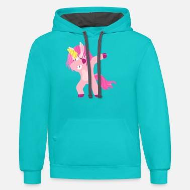 Unicorn pink dab dabbing dancing pony fairy - Unisex Two-Tone Hoodie