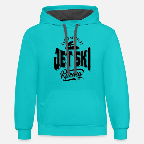 Water Hoodies & Sweatshirts - Jet Ski Rider Watersport Watercraft T-Shirt - Unisex Two-Tone Hoodie scuba blue/asphalt