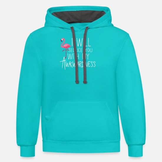 Flamingo Hoodies & Sweatshirts - Pink Flamingo My Awkwardness - Unisex Two-Tone Hoodie scuba blue/asphalt