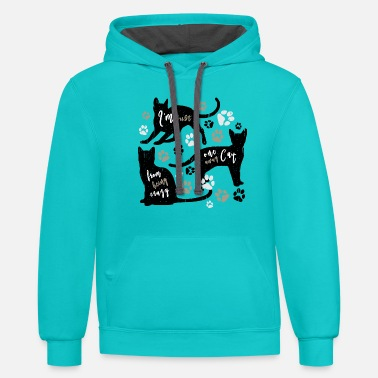 spread cat one cat away from being crazy fin - Unisex Two-Tone Hoodie