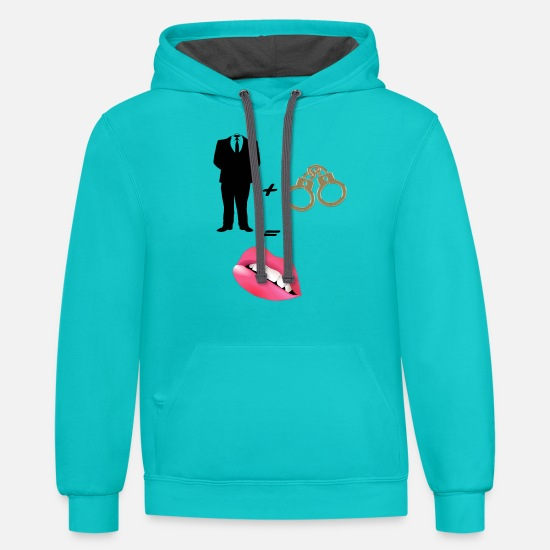 Bad Hoodies & Sweatshirts - Master with cuffs - Unisex Two-Tone Hoodie scuba blue/asphalt