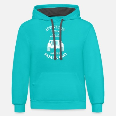 Adventures Begin Where Roads End - Unisex Two-Tone Hoodie