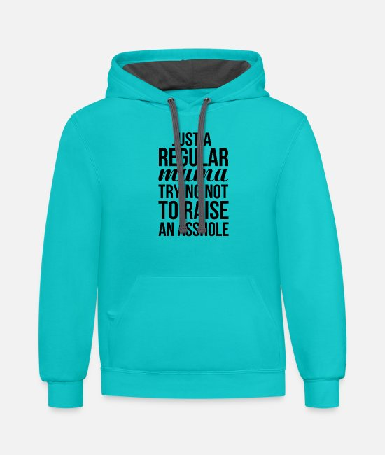 Just Fly Hoodies & Sweatshirts - Just a regular mama trying not to raise an asshole - Unisex Two-Tone Hoodie scuba blue/asphalt