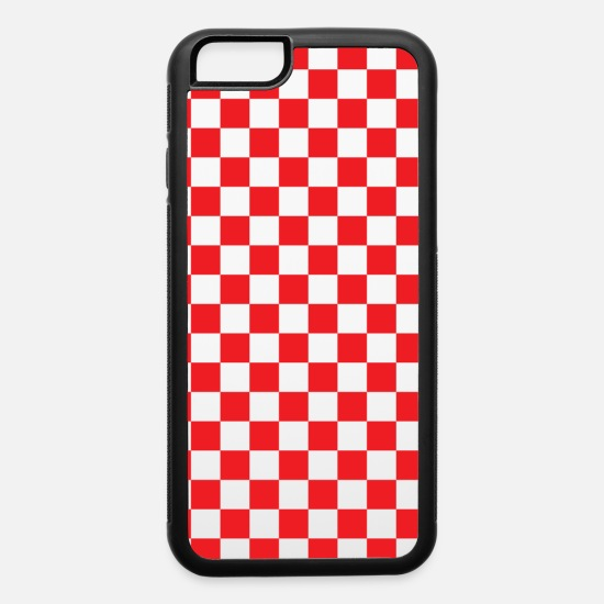 Red iPhone Cases - Red Checkerboard - iPhone 6 Case white/black
