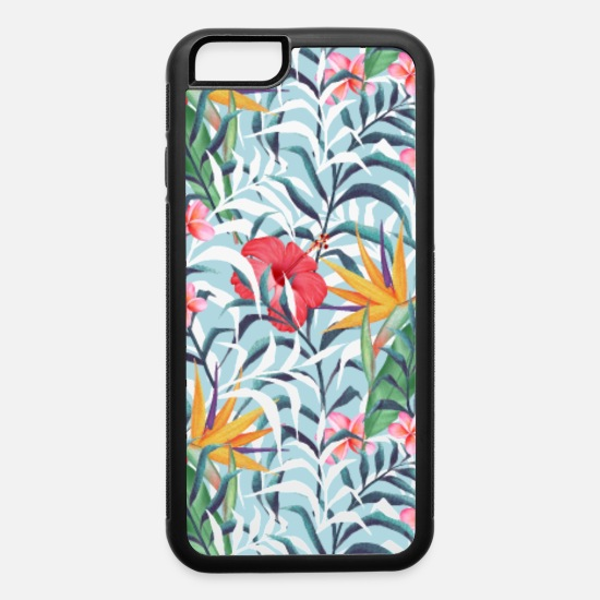 Floral iPhone Cases - Tropical plants. Seamless floral pattern - iPhone 6 Case white/black