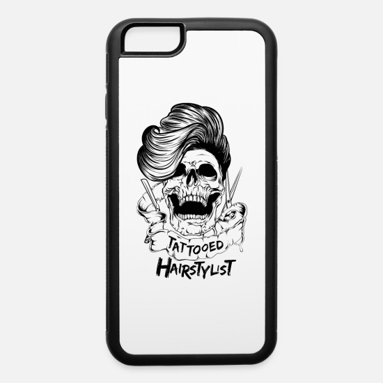 Skull iPhone Cases - Tattooed Hair Stylist Skull Barber Hairdresser - iPhone 6 Case white/black