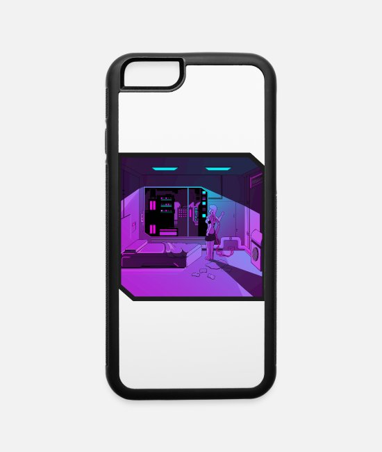 Nineties iPhone Cases - Anime girl retrowave synthwave outrun aesthetics - iPhone 6 Case white/black