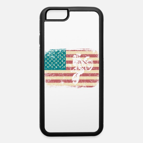 Motor iPhone Cases - Cool American Flag Motocross Tee For Riders - iPhone 6 Case white/black