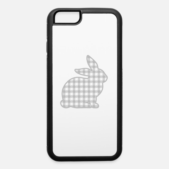 Easter Bunny iPhone Cases - Easter Bunny Gray Plaid Rabbit Tartan Gingham Grey - iPhone 6 Case white/black