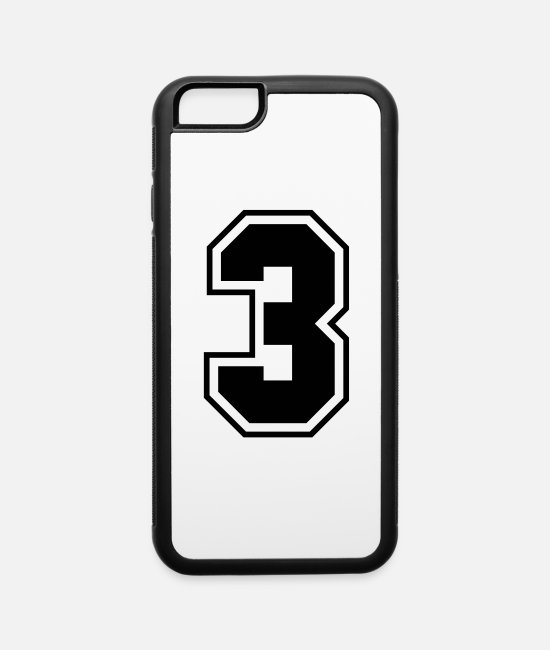 Numbers iPhone Cases - College jersey letter 3 - iPhone 6 Case white/black