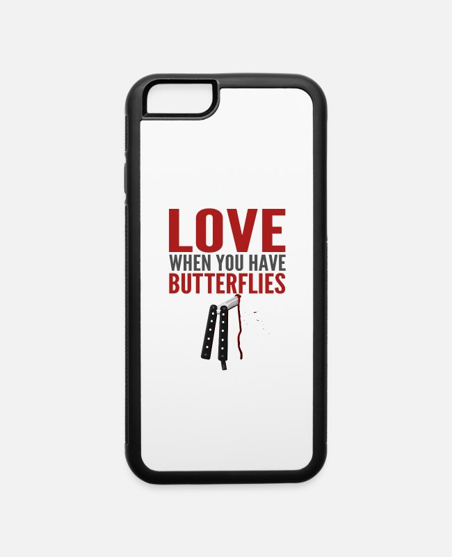 Knife iPhone Cases - Butterfly In Your Tummy - iPhone 6 Case white/black