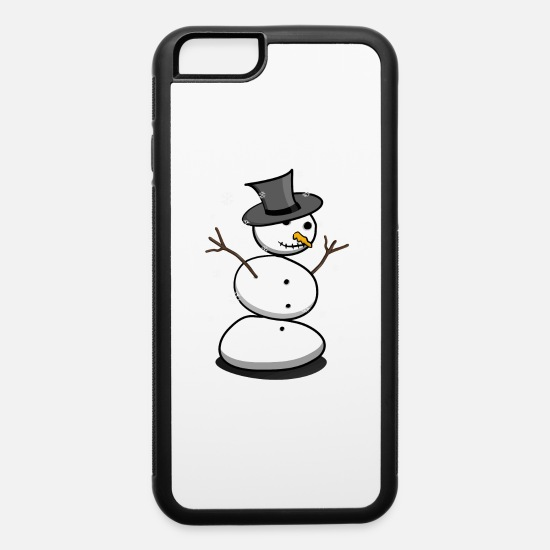 Nose iPhone Cases - Snowman with Hat and Carrot Nose - iPhone 6 Case white/black