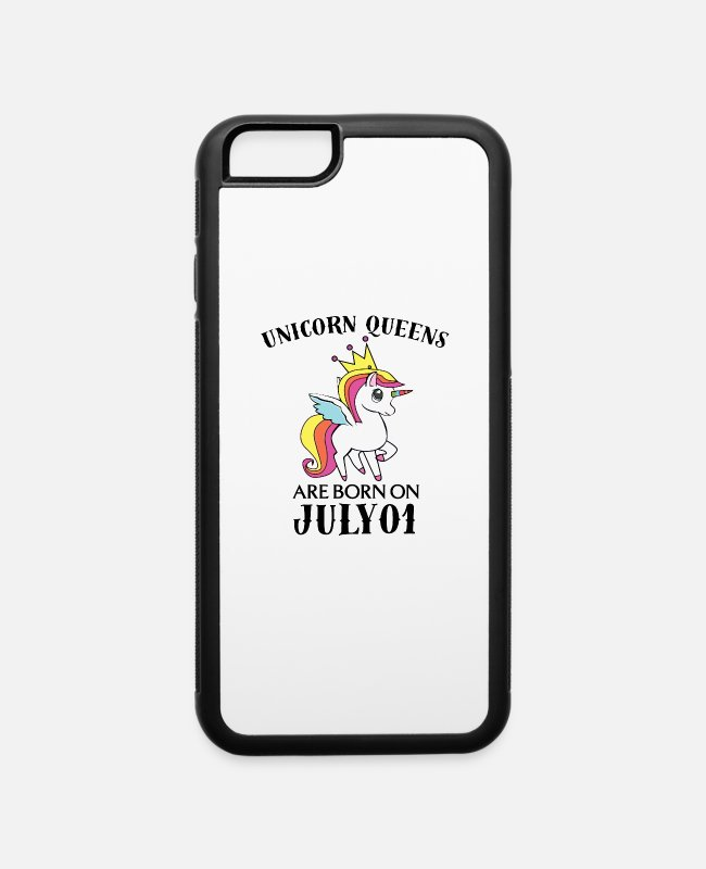 Funny Unicorn iPhone Cases - Unicorn Queens Are Born On July 01 - iPhone 6 Case white/black