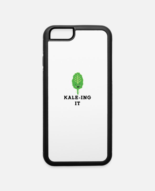 Eco iPhone Cases - Kaleing It Kale Art for Vegans Vegetarians Light - iPhone 6 Case white/black