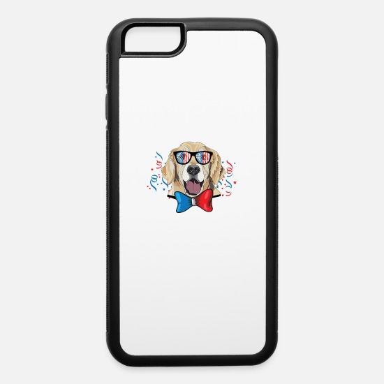 Patriotic iPhone Cases - 4th of July Golden Retriever Dog USA Sunglasses - iPhone 6 Case white/black