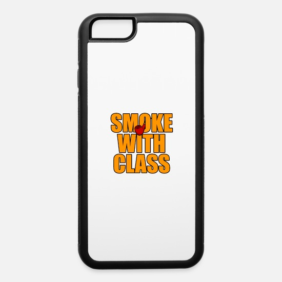 Cancer iPhone Cases - Smoking with class pipe - iPhone 6 Case white/black