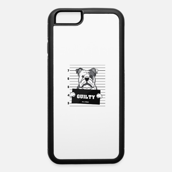 Crime iPhone Cases - Guilty dog Mugshot prison crime Bulldog Jail gift - iPhone 6 Case white/black