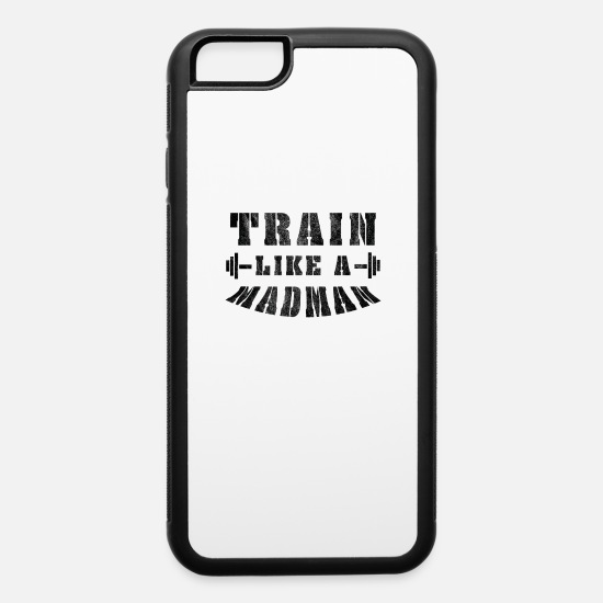 Muscular iPhone Cases - Body Building saying, muscles, dumbbells gift - iPhone 6 Case white/black