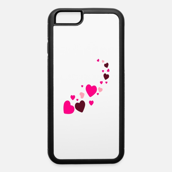 Big iPhone Cases - mix various brwon heart - iPhone 6 Case white/black