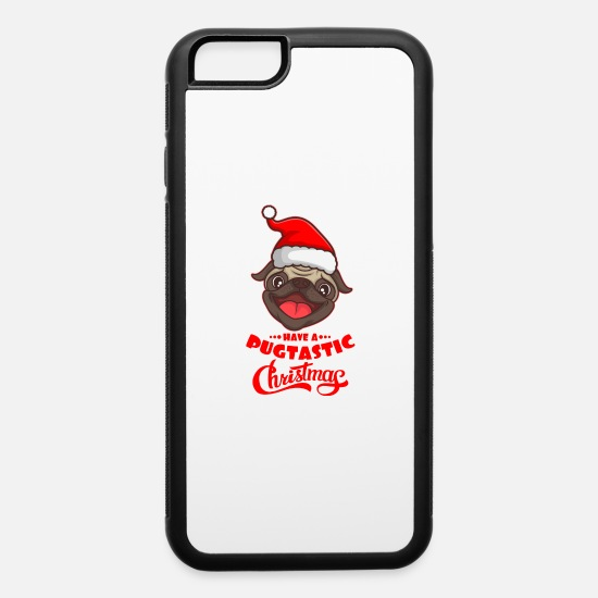 Shepherd iPhone Cases - PUG MERRY WOOFMAS Dog Pug Gifts Pug Lovers - iPhone 6 Case white/black