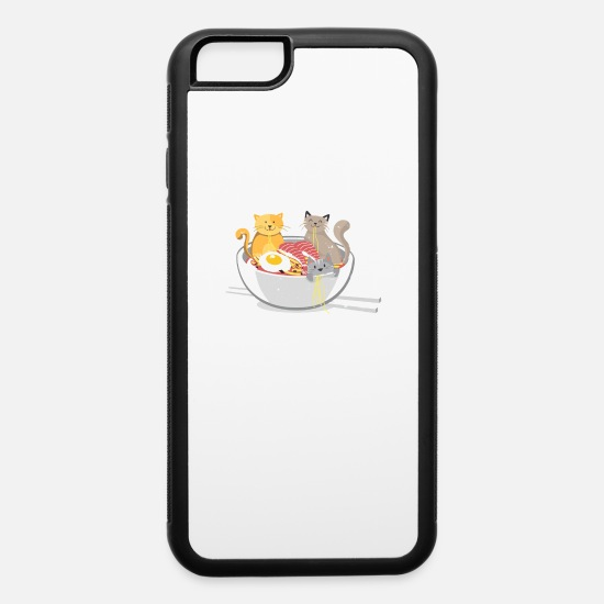 Meow iPhone Cases - Kawaii Anime Cat Japanese Ramen Noodles T-Shirt - iPhone 6 Case white/black