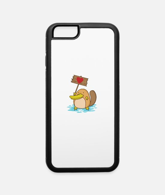 "Beak iPhone Cases - Platypus with heart ""Love Demo"" - iPhone 6 Case white/black"