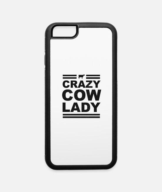 Cow Pattern iPhone Cases - Crazy Cow Lady Womens Dairy Farmer - iPhone 6 Case white/black