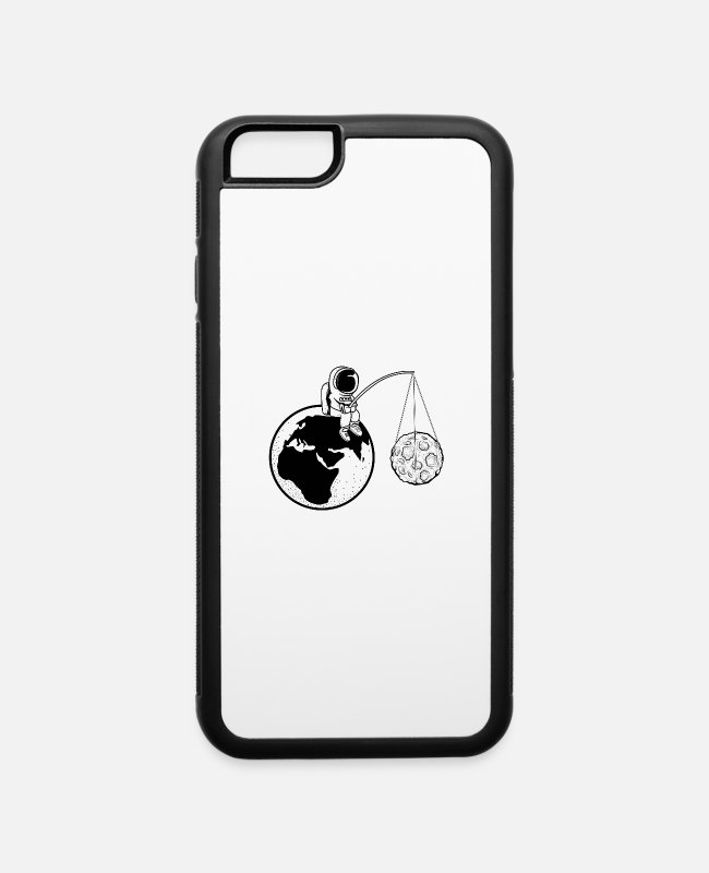 Earth iPhone Cases - Moon Earth Fishing Traveler Gift - iPhone 6 Case white/black