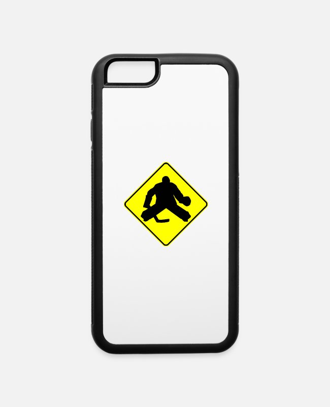 Hockey iPhone Cases - Hockey Goalie Crossing Sign - iPhone 6 Case white/black