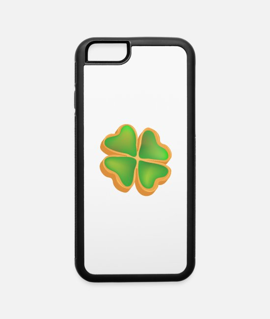 Shamrock iPhone Cases - baked fortune cookie as clover with green glaze - iPhone 6 Case white/black