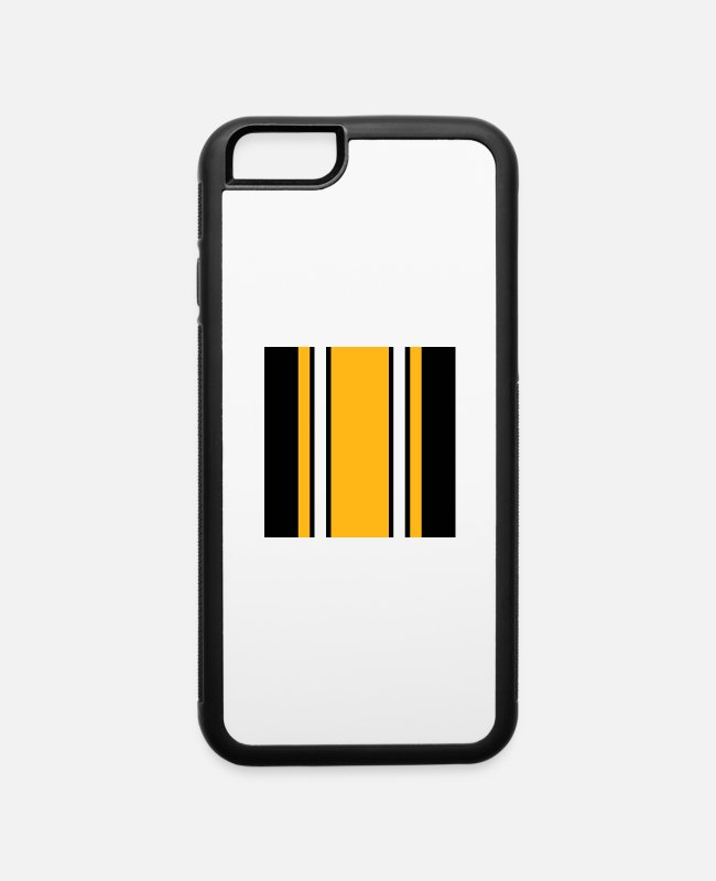 Geraud iPhone Cases - Pittsburgh Black And Gold Stripes - iPhone 6 Case white/black