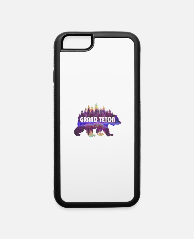 Geraud iPhone Cases - Grand Teton National Park Grizzly Bear Nature Art - iPhone 6 Case white/black