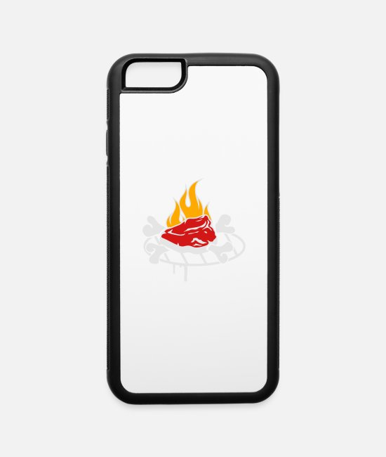 Garden iPhone Cases - A steak on the grill - iPhone 6 Case white/black