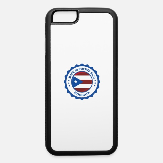 Puerto Rico iPhone Cases - Made In Puerto Rico Blue Seal Flag T-Shirt by ASJ - iPhone 6 Case white/black