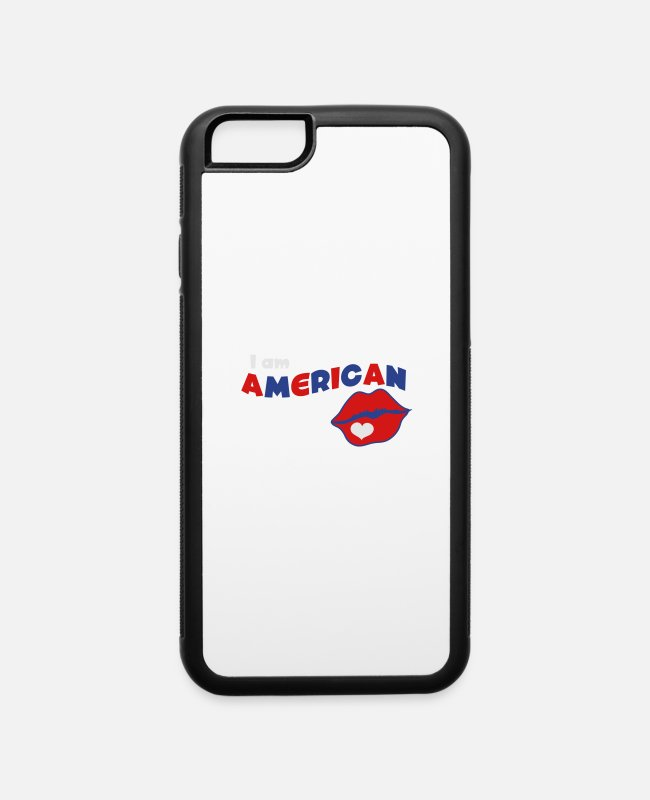 Usa iPhone Cases - i am american with kissing lips - iPhone 6 Case white/black
