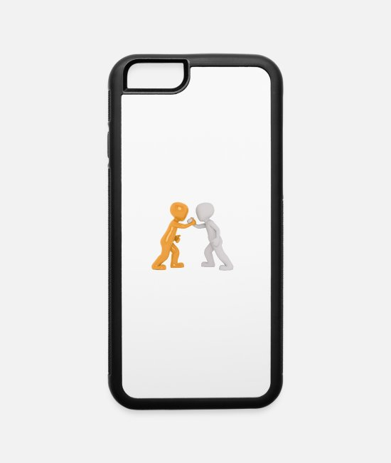 Yellow iPhone Cases - Hand shake, cartoon, orange - iPhone 6 Case white/black